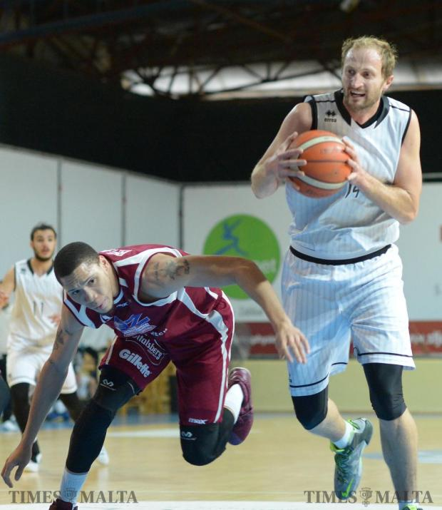 Action from the match between Gzira Athleta and Hibernians at the Basketball Pavilion in Ta'Qali on January 17. Photo: Matthew Mirabelli