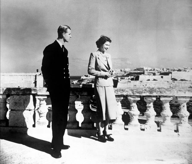 File photo dated 25/11/49 of Princess Elizabeth, accompanied by the Duke of Edinburgh, looking over Valetta from the roof of the Villa Guardamangia, Malta.