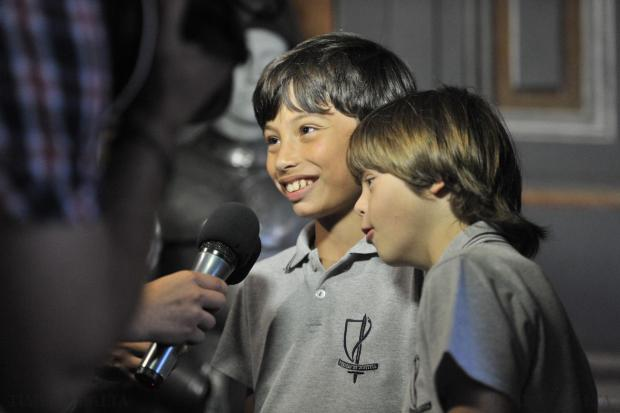 Young Samuel Cutajar (left), with his greatest pal Jordan Farrugia beside him, is interviewed just after he was awarded the Peace Lab's Pope John XXIII Prize for Kindness for his dedication to Jordan, who has Down's Syndrome, at the Palace in Valletta on June 18. Photo: Jason Borg