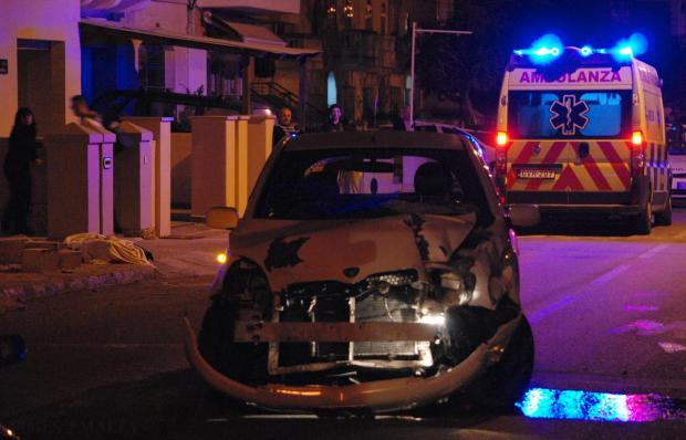 A car which struck and killed an elderly woman is seen in Attard on December 19. Photo: Mark Zammit Cordina