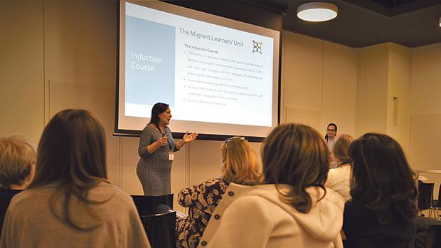Lara Sammut and Monica Abela Medici leading a workshop on the inclusion of newcomer learners.