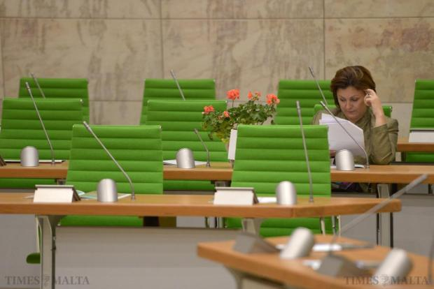 Labour MP Marlene Farrugia carried a flowering plant with her to the new building as a symbol of the good Parliament can produce during the opening session of the new Parliament building on May 4. Photo: Matthew Mirabelli