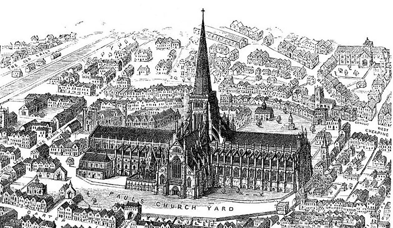 A reconstructed image of Old St Paul's before 1561.
