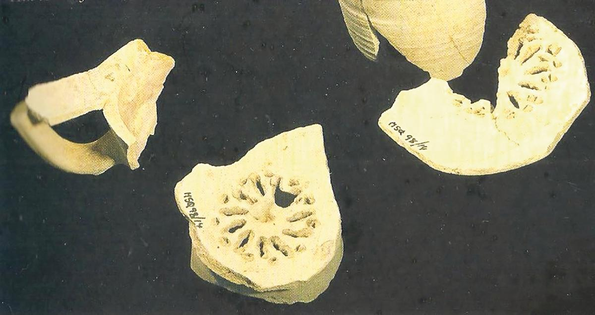 Fragments of an Arabic amphora, including filters, excavated at Mdina.