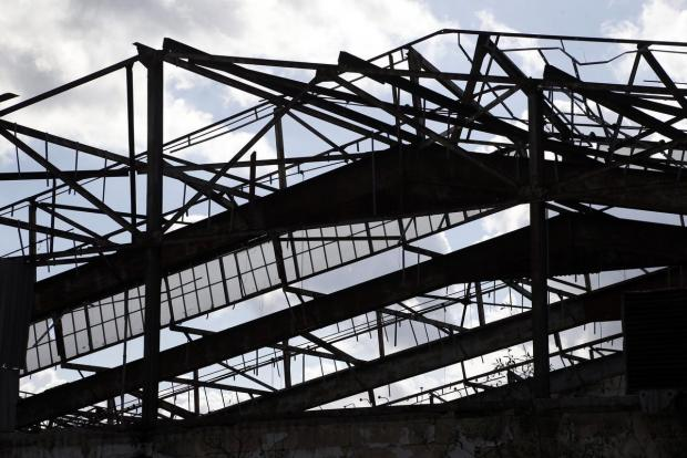 The destroyed roofing of the abandoned ex-Dowty factory in Mriehel is seen on December 20. Photo: Darrin Zammit Lupi