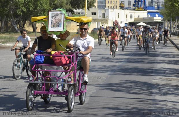 Bicycles take over the roads in Marsa at the annual Our Lady of Grace bike pilgrimage on September 13. Photo Mark Zammit Cordina.