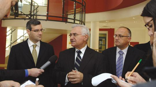 John Dalli seen at Mater Dei Hospital soon after he was appointed minister in March 2008, with then parliamentary secretaries Joe Cassar (left) and Mario Galea.