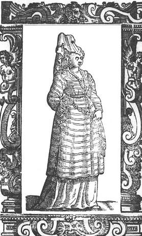 A Greek concubine from the Island of Rhodes. From Cesare Vecellio's Book of Costumes, 1590.