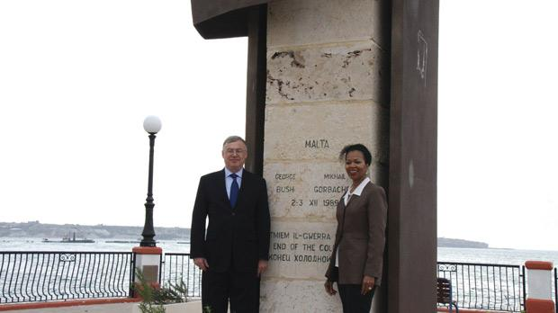 American and Russian Ambassadors Gina Abercrombie-Winstanley and Boris Marchuk at the Malta Summit monument in Birżebbuġa.