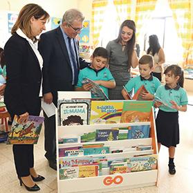 Pupils from Marsaxlokk primary school with Education Minister Evarist Bartolo, GO's Daniela Bagnaschi (left) and primary assistant head Elaine Vella.