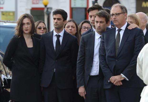 The family grieves during Daphne Caruana Galizia's funeral. Photo: Matthew Mirabelli
