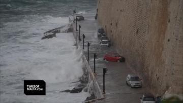 Watch: Strong waves batter Valletta shoreline