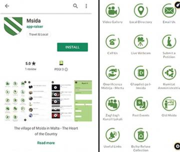 Two pages from the new app launched by Msida local council.