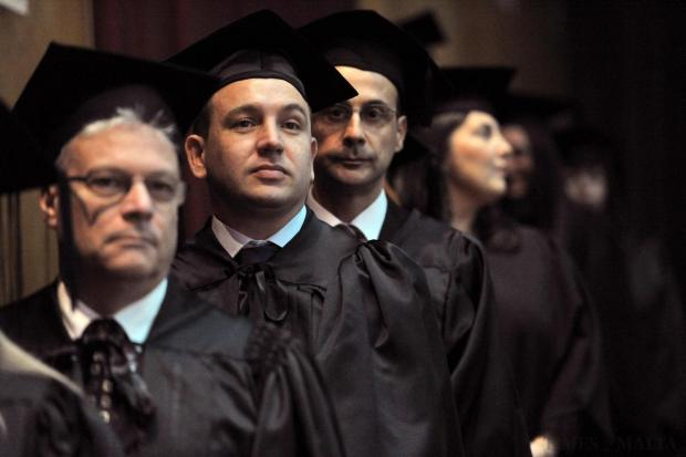 The future beckons for hundreds of students who graduated from the University of Malta, including many part-time students like Ian Sansone (centre) who obtained a higher diploma in administration and management from the Faculty of Economics, Management and Accountancy on December 4. Photo: Jason Borg
