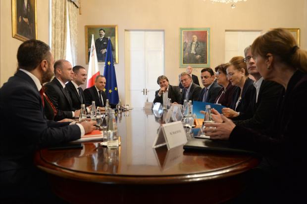 The MEPs meeting with Joseph Muscat in December.