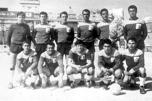 Sliema Wanderers 1964-65 Back row: Debono, Falzon, Fitzgerald, Bonnici, Buttigieg, J. Aquilina. Front row: Cocks, Cini, Micallef, E. Aquilina, Vassallo.