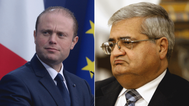 Joseph Muscat (left) said he doesn't see things the way Silvio Camilleri (right) does.