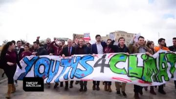 Watch: 'I wish you would listen'... young activists march for climate change | An activist-led protest, but politicians stood at the front. Video: Mark Zammit Cordina