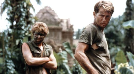 Martin Sheen (right) as Capt. Benjamin Willard in Apocalypse Now (1979) during which he had a real-life heart attack.