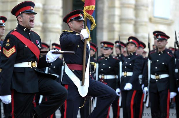 Armed Forces of Malta soldiers take part in the Republic Day Parade in Valletta on December 13. Photo: Jason Borg