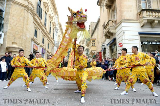 Members of the Zhejiang Wu Opera Troupe perform in the streets of Valletta on February 13 to celebrate the Chinese New Year. Photo: Matthew Mirabelli