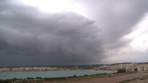 A cloud bank over Marsaxlokk this afternoon - Photo - Mark Zammit Cordina