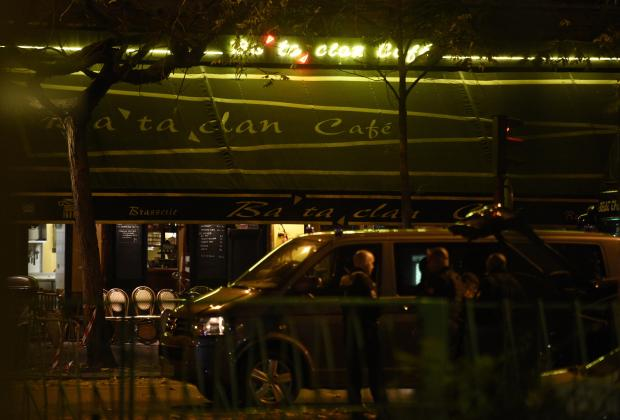This file photo taken on early November 14, 2015 shows the Bataclan cafe near the Bataclan concert hall in central Paris, after people were killed in a mass hostage-taking at the Paris concert hall on November 13 and many more in a series of bombings and shootings.