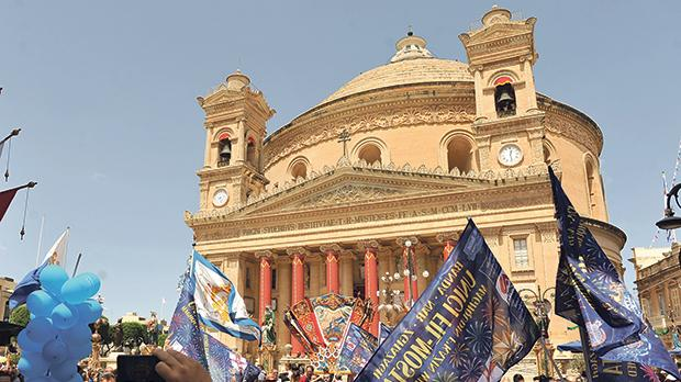 Celebrations in full swing at Mosta.