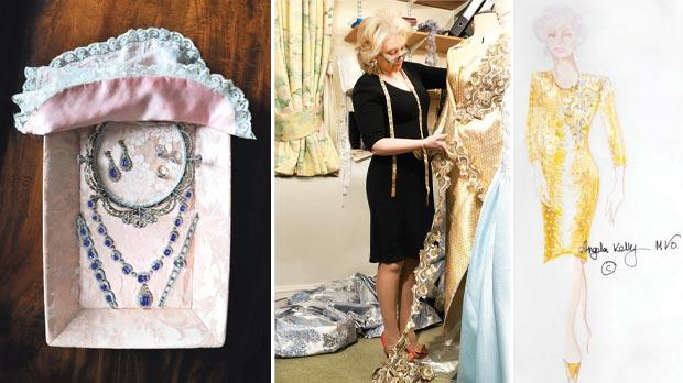 From left: Jewellery presented in Queen Mary's trays, Angela Kelly working on the Queen's Diamond Jubilee concert outfit and the original sketch of the dress.