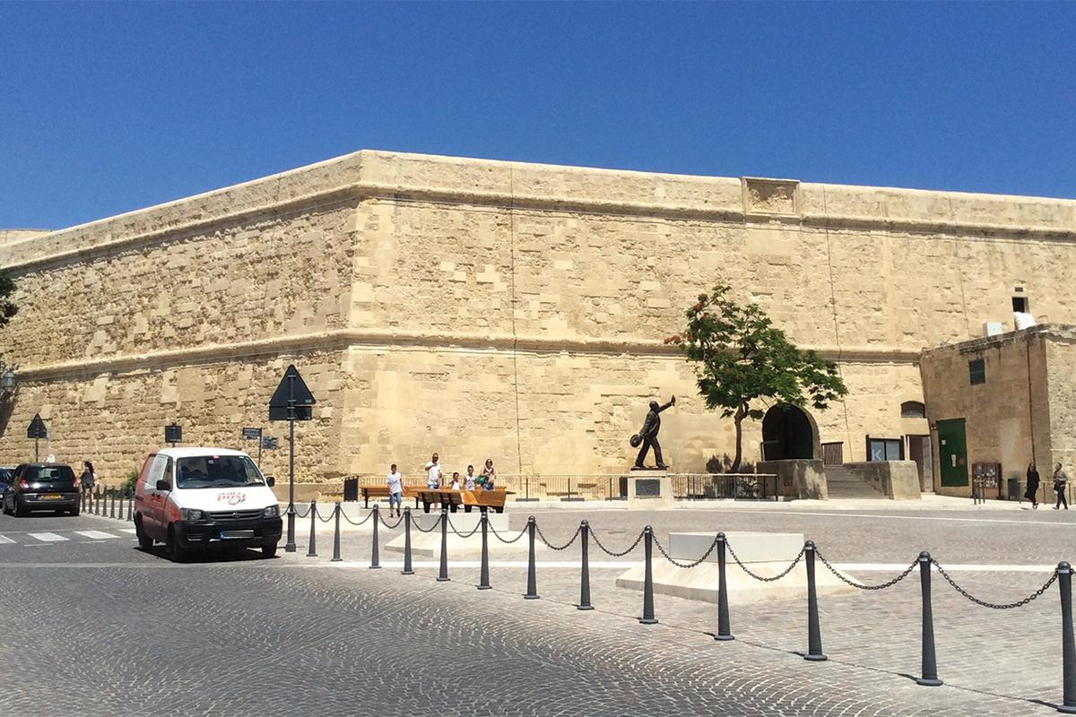 The front and side views of St James Cavalier, Valletta.