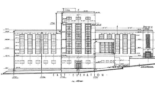 Farsons second Brewery facade plan (detail) by Lewis V. Farrugia