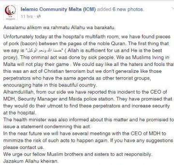 The ICM announced the desecration on Facebook. Photo: Facebook