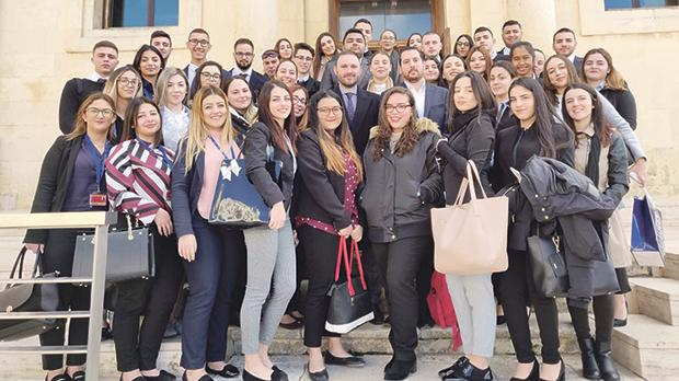 IBMC students outside the Malta Stock Exchange.