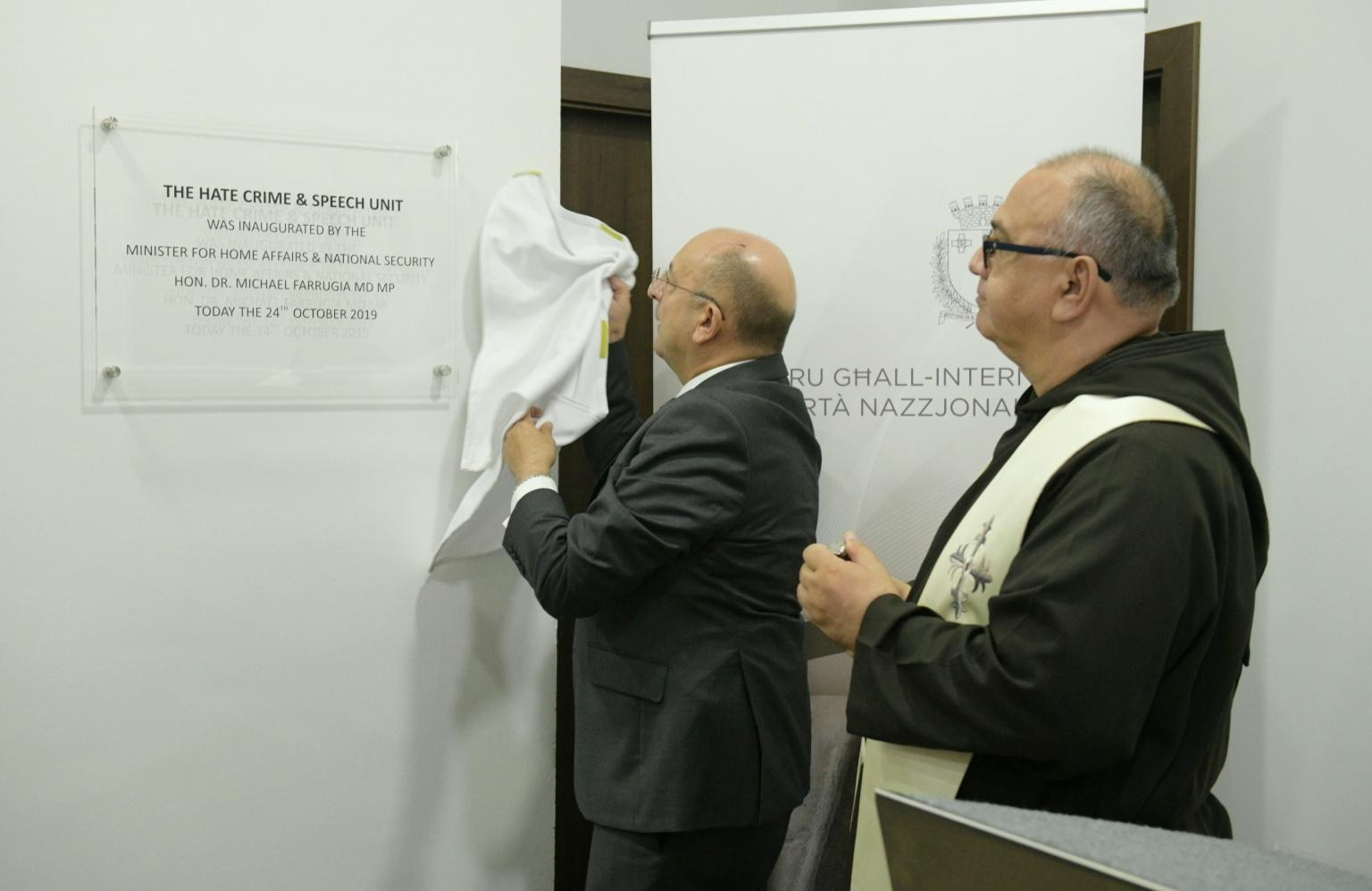 Minister Michael Farrugia inaugurating the Hate Crime and Speech Unit.