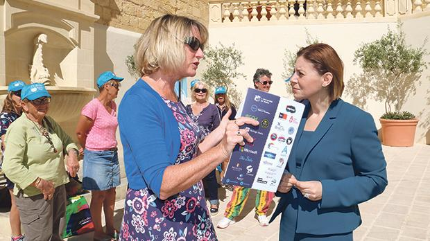 Festival organiser Colleen Bower explaining some details about the festival to Gozo Minister Justyne Caruana. Photos: Charles Spiteri