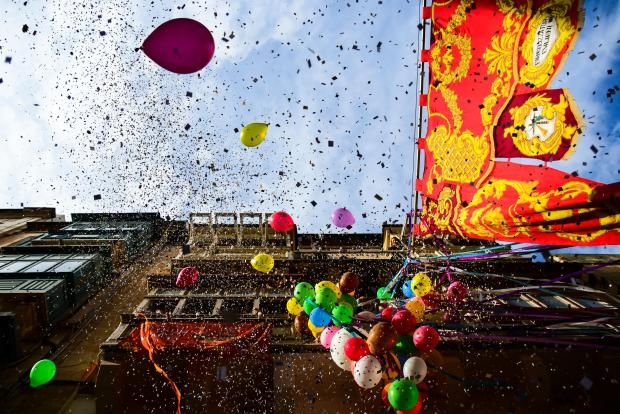 Balloons and confetti add colour to St Paul's Street, during the feast of St Paul in Valletta on January 27. Photo: Jonathan Borg