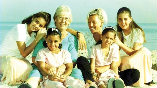 Jackie Vassallo, back, second right, with her mother and children during happier times.