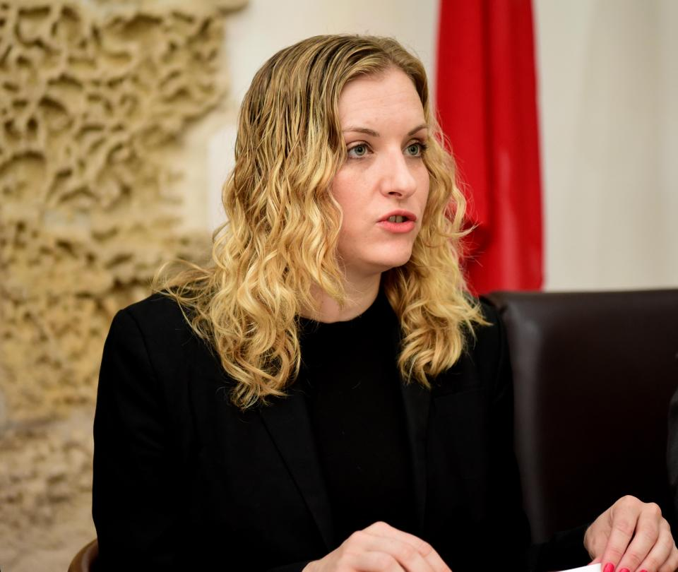 Ms Vincent speaking to reporters in Malta last October. Photo: Mark Zammit Cordina