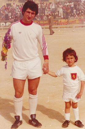 Two generations of City stalwarts – Charlie Agius and his son Gilbert. Picture was taken in 1978 when Gilbert was the team's mascot.