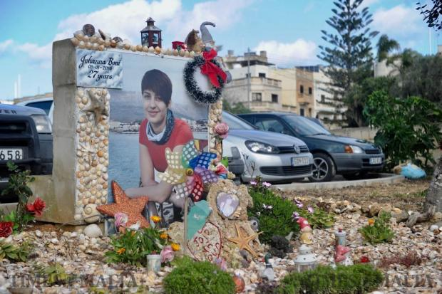 The memorial site of Johanna Boni, the 27-year-old women who was crushed by a truck last year whilst riding her motorcycle on January 5. Photo: Steve Zammit Lupi
