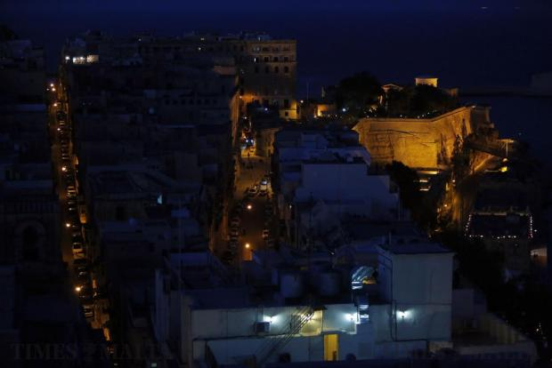 Valletta streets, buildings and bastions are seen at night on June 7. Photo: Darrin Zammit Lupi