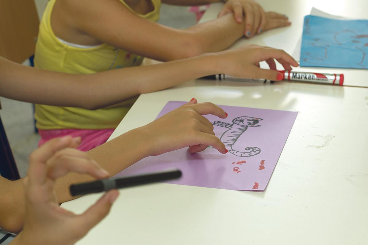 Hands on:Children particpate creatively and wholeheartedly in the workshops.