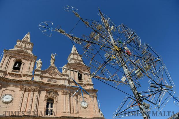 Ground fireworks are put up in Mellieha Square ahead of the feast on September 6. Photo: Matthew Mirabelli