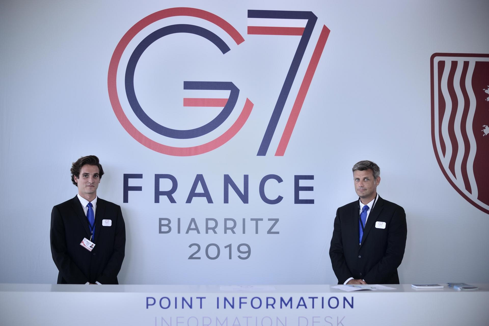 The press desk at the G7 summit in Biarritz. Leaders from the world's seven largest economies will hold a round of talks in the French town on Saturday. Photo: AFP