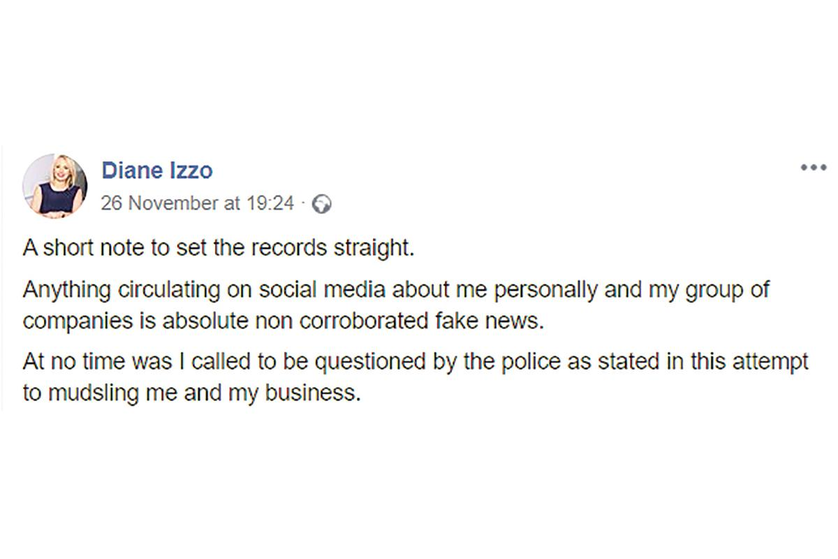 Diane Izzo's post after claims she had been called in for questioning.