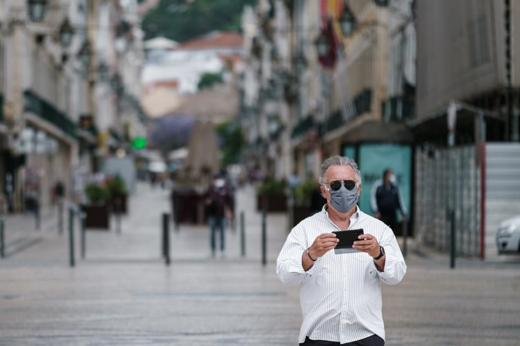 Lisbon's usually-packed streets are devoid of tourists. Photo: AFP