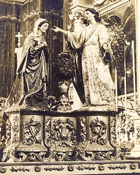 The statue of the Annunciation, sculpted in wood by Salvatore Dimech and inaugurated in March 1869.