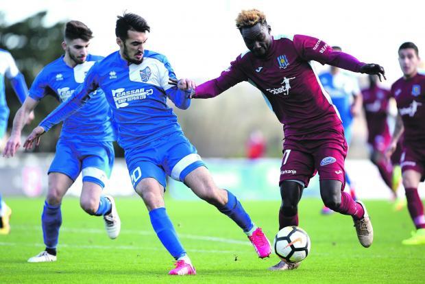 Amadou Samb notched a brace as Gżira beat Tarxien Rainbows 3-1. Photo: Christine Borg