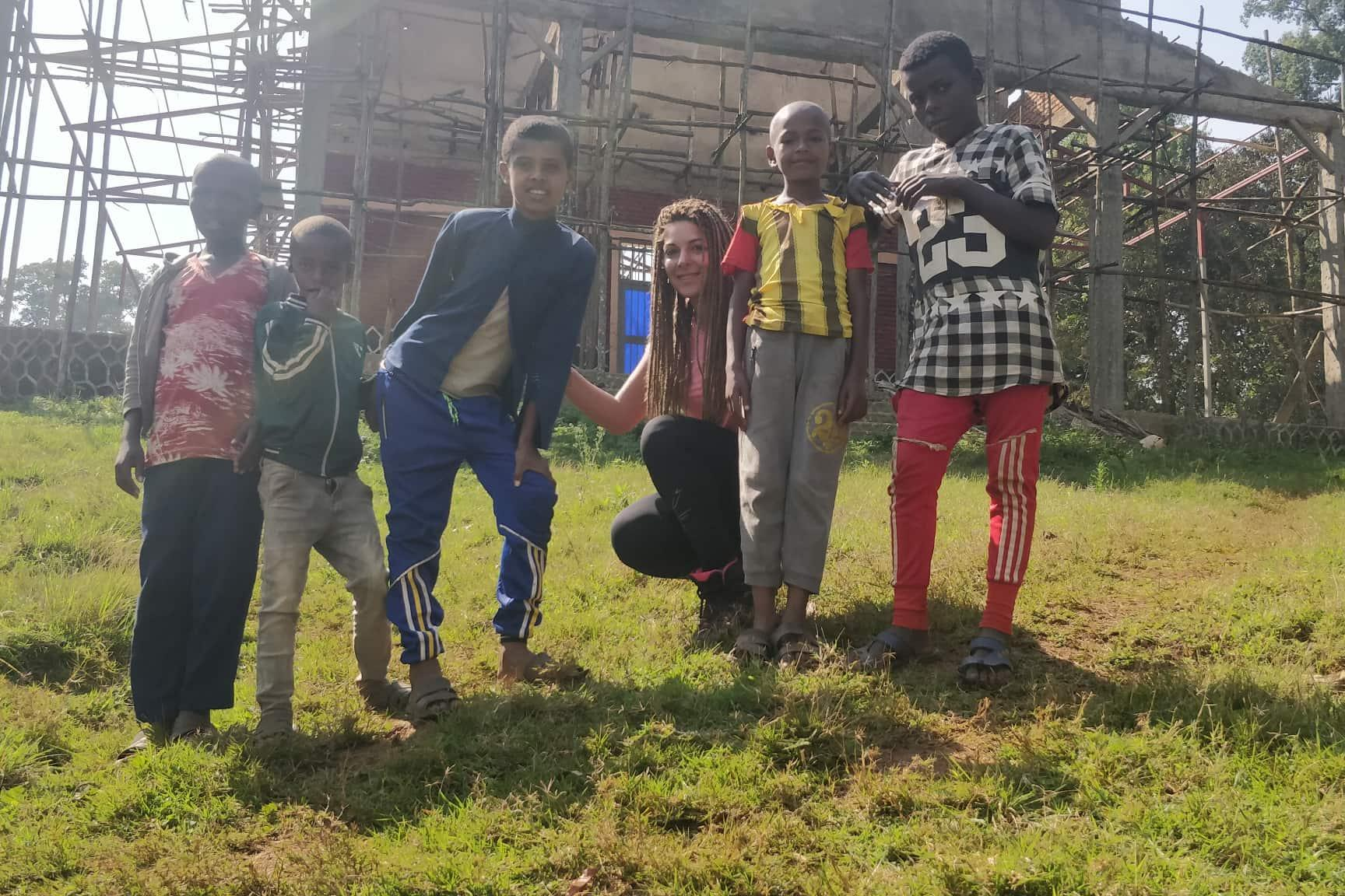 Cinzia Fenech with children from the community helped by the Kilimanjaro Challenge. Picture: Cinzia Fenech