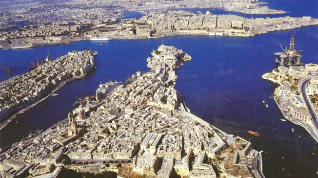 An aerial view of Vittoriosa flanked by Porto delle Galere (left), now known as Dockyard Creek, and Kalkara Creek. Pictures from the archives of the late Anthony Marquis Cassar de Sain by courtesy of the family.